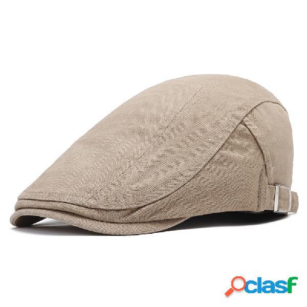 Homens algodão cor sólida boina cap sombrinha casual ao ar livre repicou frente cap ajustável chapéu