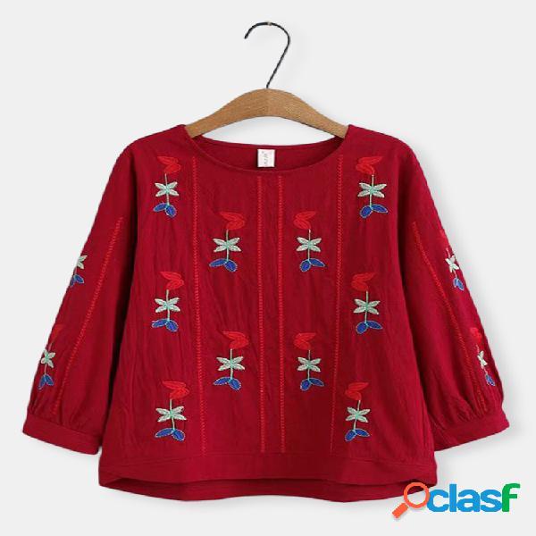Pescoço de gola bordada vintage mais blusa de tamanho para mulheres