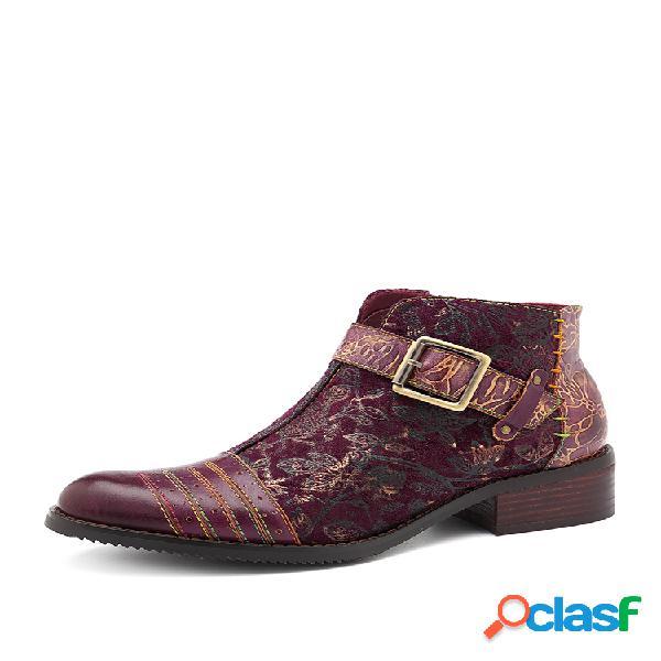Socofy vintage fivela de couro de vaca emenda flor reto padrão botas de zíper de costura multicolor