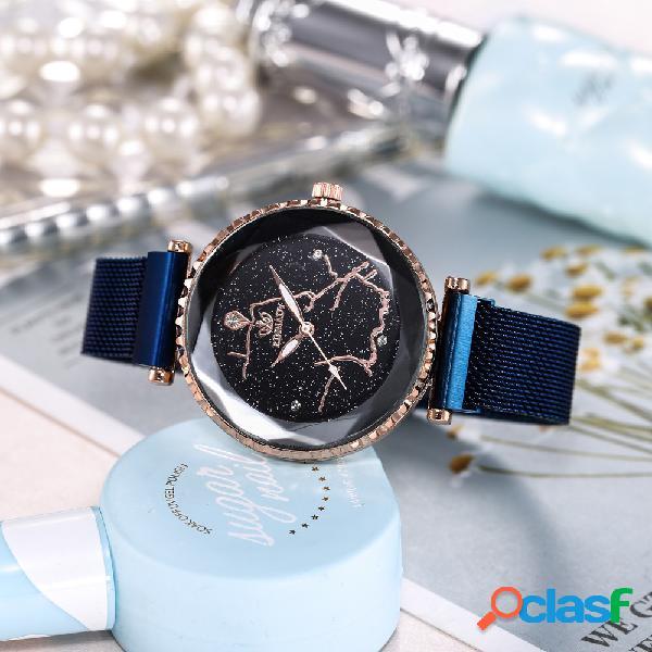Relógio de quartzo de céu estrelado de moda aço inoxidável mulheres de ímã assista relógio impermeável