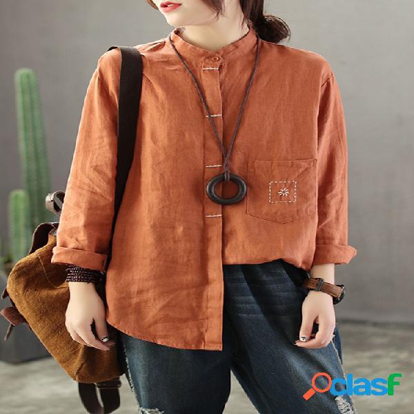 Blusa de manga longa bordada cor sólida para mulheres