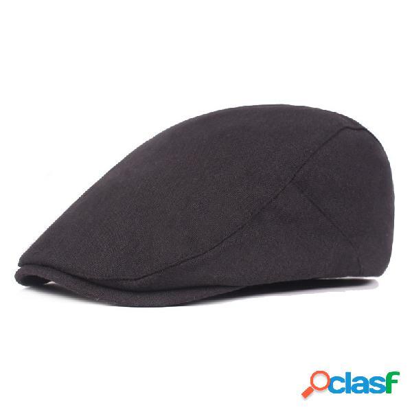 Homens cor sólida algodão boina cap pato chapéu sombrinha casual ao ar livre pico cap para a frente ajustável chapéu
