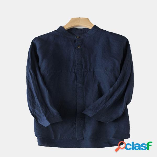 Mens 100% algodão breve respirável cor sólida single-breasted casual camisa