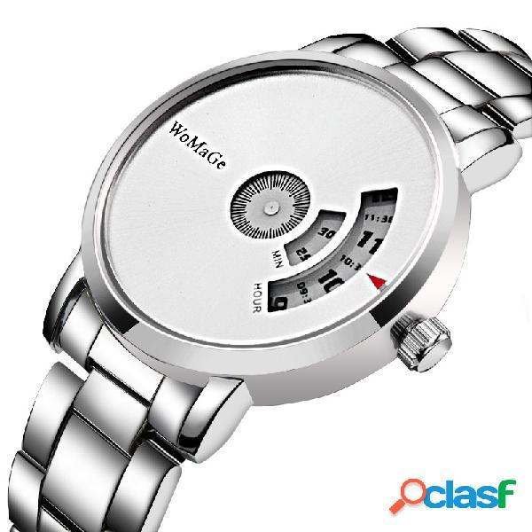 Relógio minimalista de quartzo da moda em aço inoxidável relógio de cintura com mostrador à prova d'água para homens