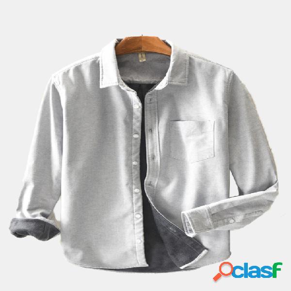 Mens classic moda linho de algodão respirável manga comprida single-breasted loose casual camisa