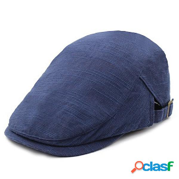 Mens cotton linen cor sólida boina cap ajustável vintage casual forward chapéu