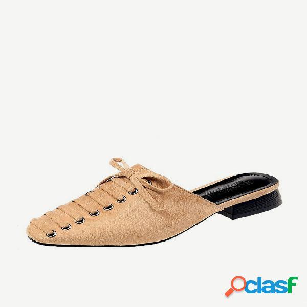 Sapatos de salto robusto sem encosto bowknot mules decoração