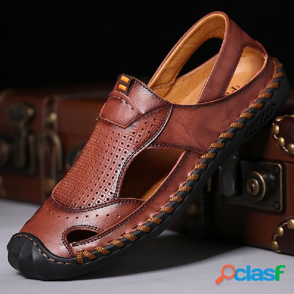 Menico masculino costura à mão fechada toe outdoor soft sandálias de couro