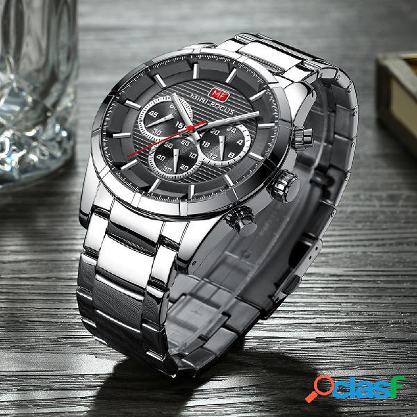 Relógio de pulso masculino estilo empresarial de aço inoxidável banda relógios de quartzo