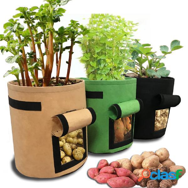 Tomates potato grow bolsa frutas vegetais plantador pots pano não tecido respirável com alças de alça