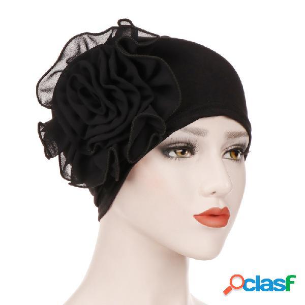 Womens vintage side paste grande flor beanie cap leite de seda casuais chiffon soft capota sólida chapéu