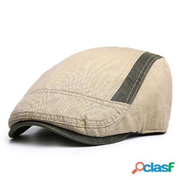 Homens de algodão cor sólida beret duck chapéu sombrinha ocasional ao ar livre repicado cap forward chapéu