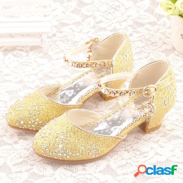 Meninas brilhando strass princesa elegante gatinho calcanhar cristal sapatos