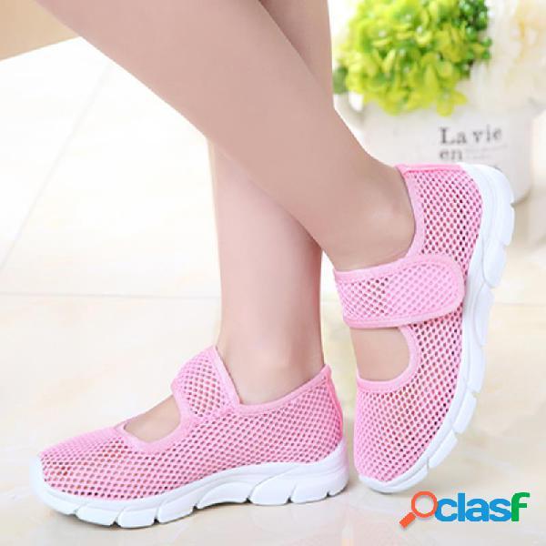 Meninas malha respirável cor pura gancho loop sapatos casuais