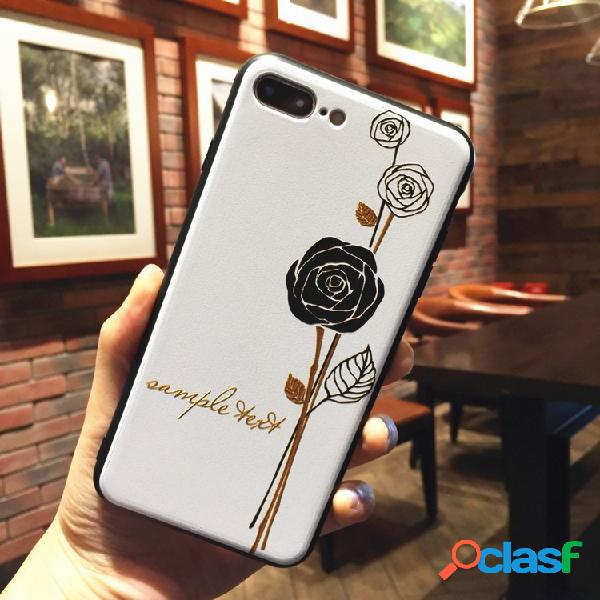 Mulheres vintage floral emboss estilo tpu telefone caso capa anti-queda para iphone