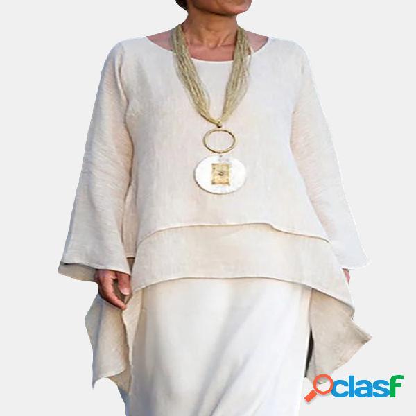 Blusa casual com camadas de cor sólida alta baixa manga comprida plus tamanho