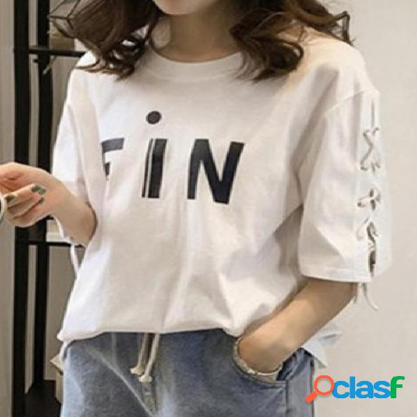 Gravata design dos desenhos animados imprimir o pescoço manga curta t-shirt casual para as mulheres