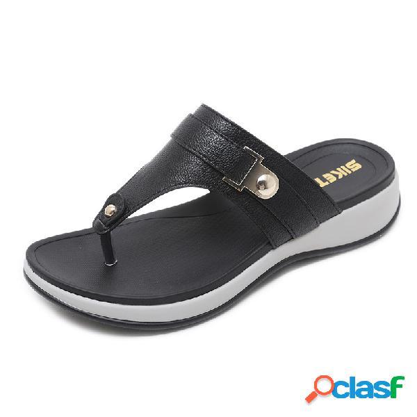Mulheres cunha tamanho grande soft chinelos sandálias de dedo do pé