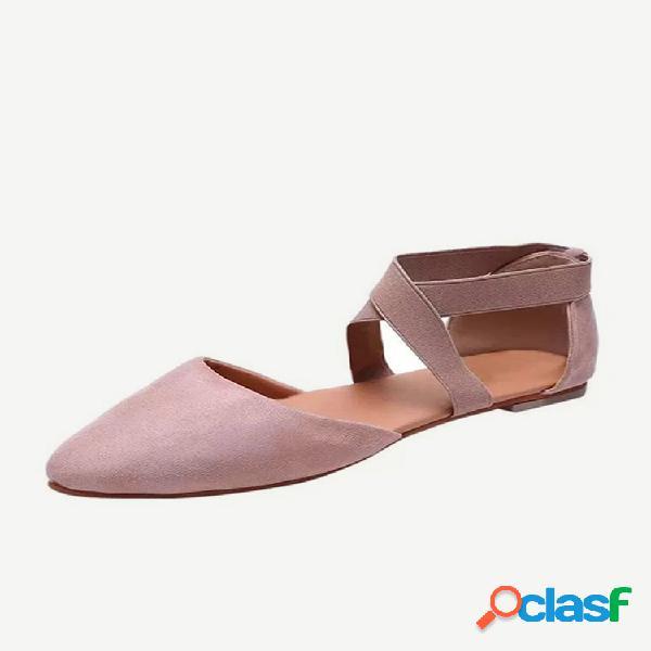 Tamanho grande feminino casual leve fechado elástico banda sandálias rasteiras