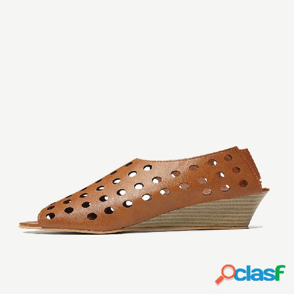 Tamanho grande feminino casual peep toe sandálias planas elásticas banda vazadas