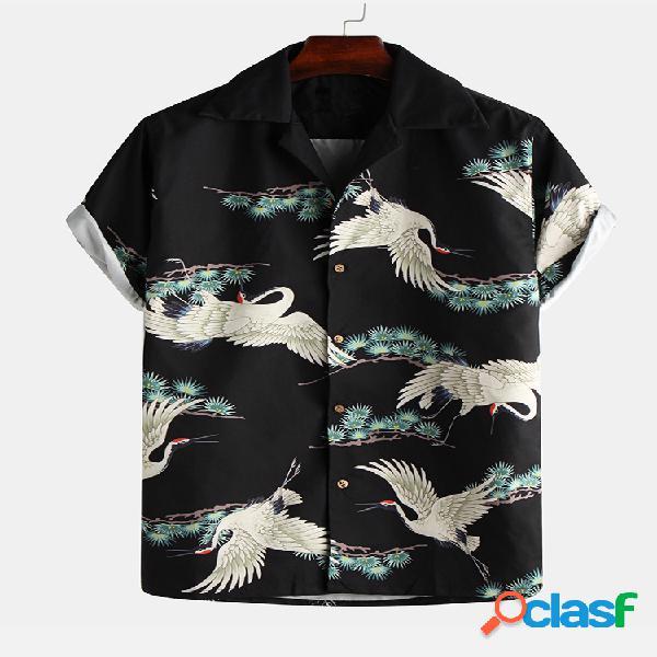Animal havaiano de férias masculino impresso gola virada para baixo manga curta solta aloha camisa