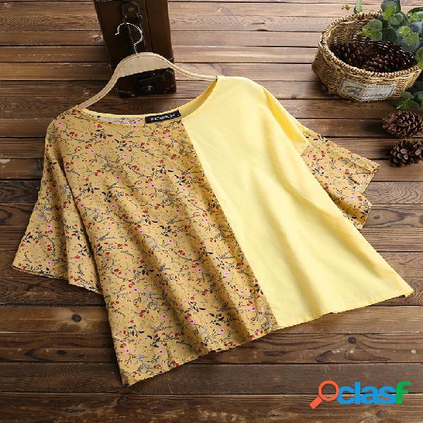 Estampa patchwork floral casual solta camiseta manga curta