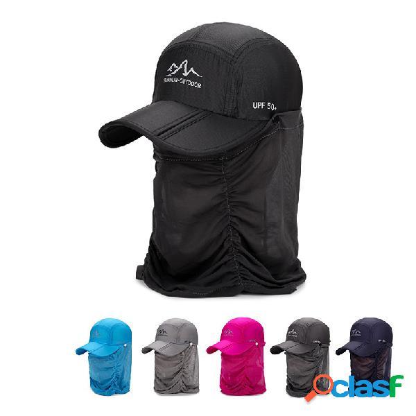Homens mulheres verão fino quick-dry baseball chapéu esportes casuais ao ar livre pescoço proteger o tampão removível