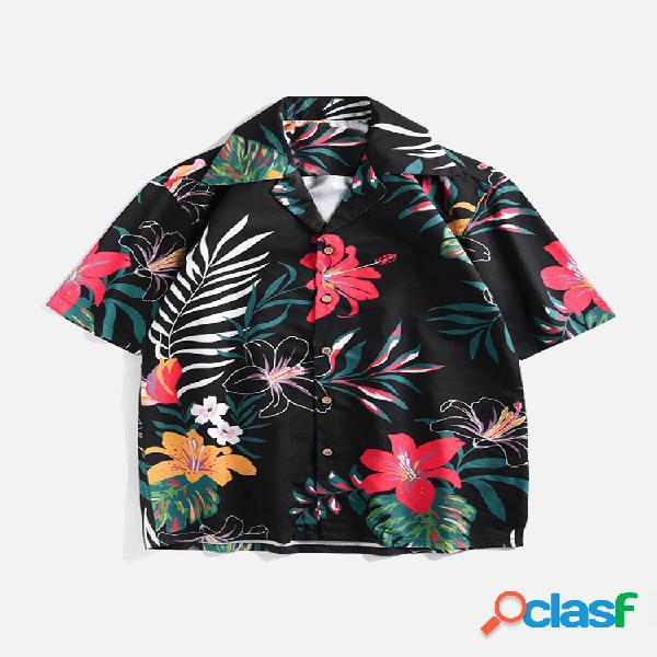Mens hawaiian holiday floral impresso turn down collar manga curta solta aloha camisa