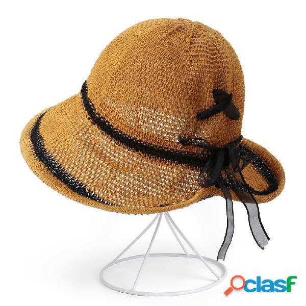 Mulheres dobrável respirável fino protetor solar balde chapéu viagem ao ar livre casual praia mar chapéu