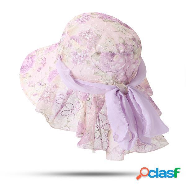 Mulheres floral arco fino protetor solar balde chapéu outdoor casual travel praia mar chapéu