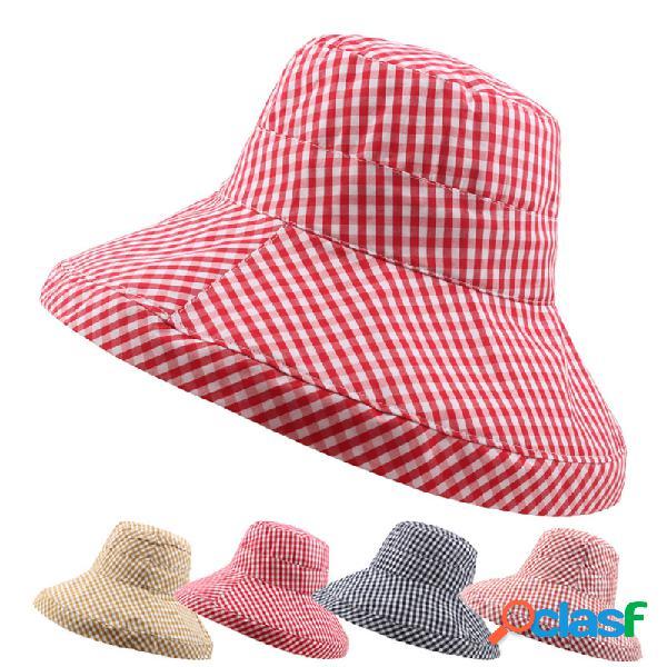 Mulheres dobrável algodão fino protetor solar balde chapéu viagem ao ar livre casual praia mar chapéu