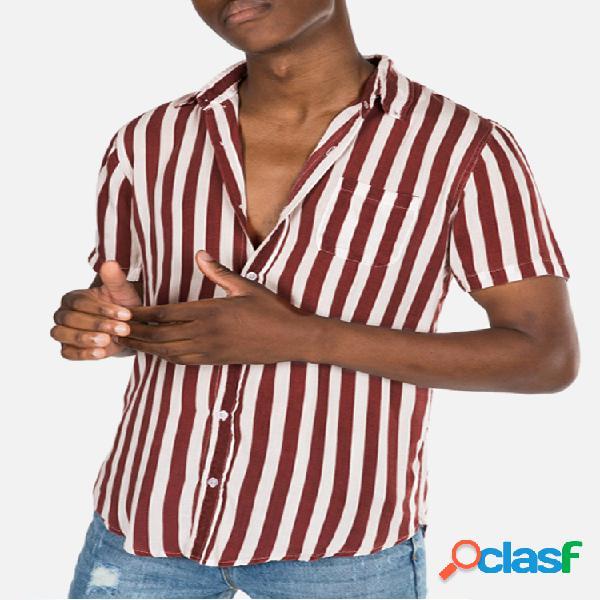 Camisetas masculinas listradas com gola virada para baixo de manga curta solta camisas casuais