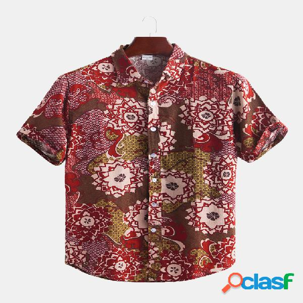 Mens floral impressão algodão respirável manga curta estilo étnico solto casual camisa