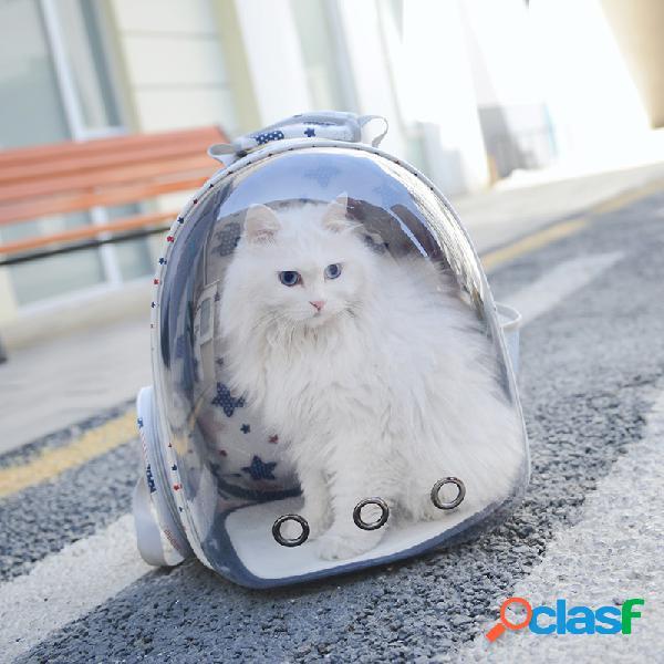 Mochila de viagem transparente para animais de estimação respirável cachorro cat outdoor carrier bolsa