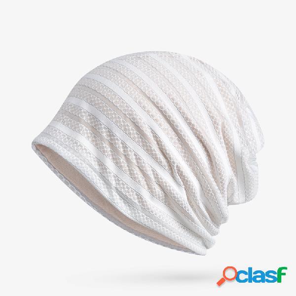 Mulheres de algodão fino prata dupla camada oco respirável gorro chapéu ao ar livre à prova de vento casuais chapéu