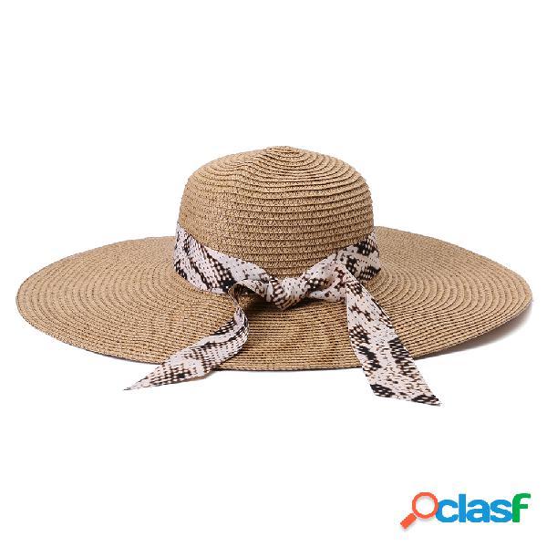 Mulheres dobrável fita solar bucket palha chapéu casual ao ar livre de viagem praia mar chapéu