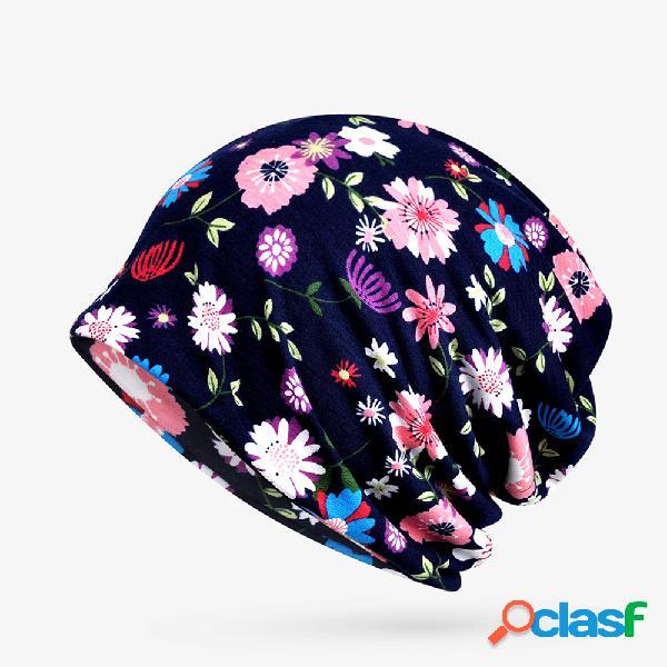 Mulheres fino estampa floral de algodão soft gorro chapéu ao ar livre à prova de vento casuais chapéu