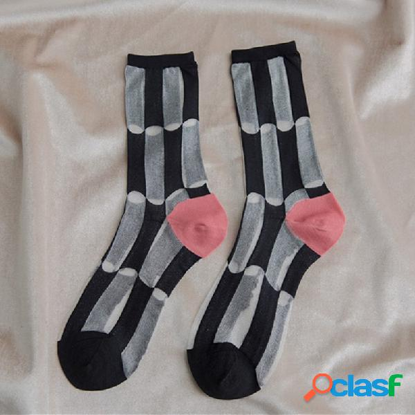 Mulheres verão fino fino transparente curto contraste grade meio tubo meias