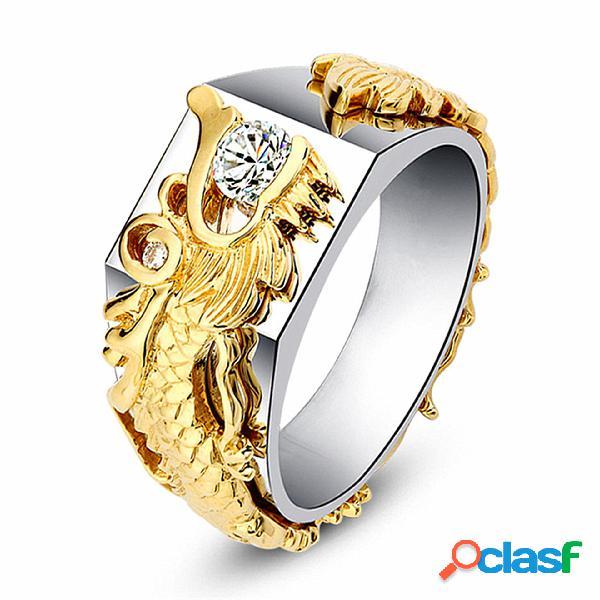 Anel masculino de luxo em ouro dragão masculino