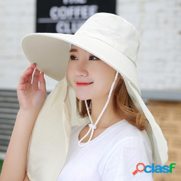 Mulheres verão protetor solar cor sólida rosto almíscar chapéu outdoor casual removível chapéu