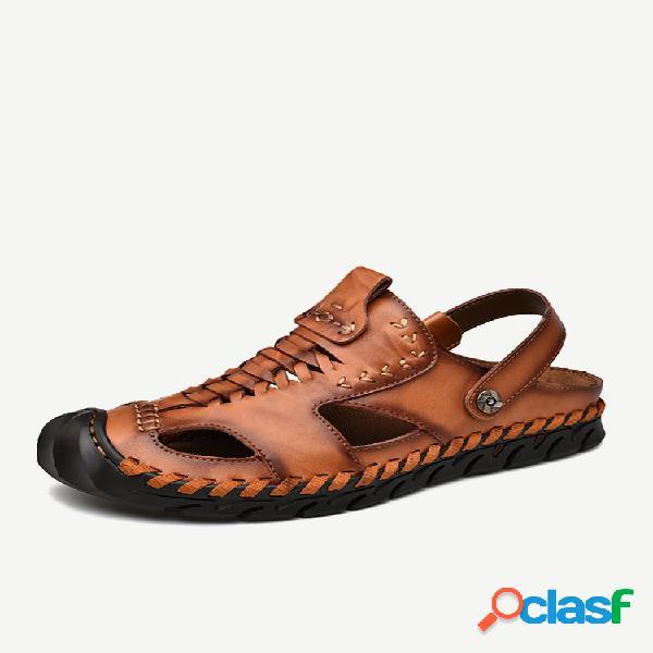 Sandálias de couro casual masculina com costura à mão fechada soft antiderrapante