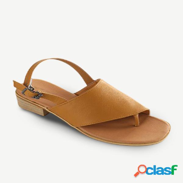 Sandálias femininas com fivela de salto em bloco com clipe casual de cor sólida