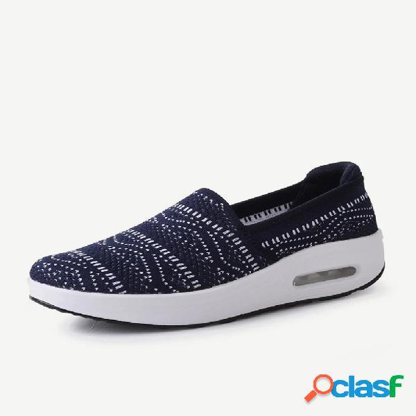 Sapatos femininos casual rocker com solado em malha deslizante na plataforma shake