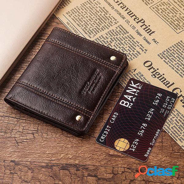 Carteira masculina couro genuíno carteira curta