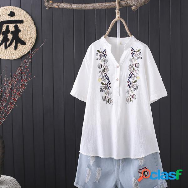 Letras de bordado impresso bolso com decote em v manga curta camisetas