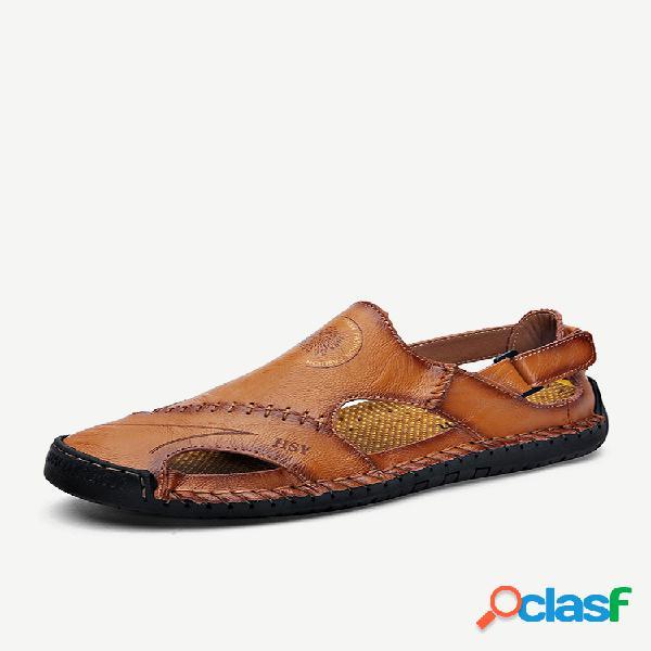 Masculino costura à mão gancho loop exterior antiderrapante sandálias de couro soft