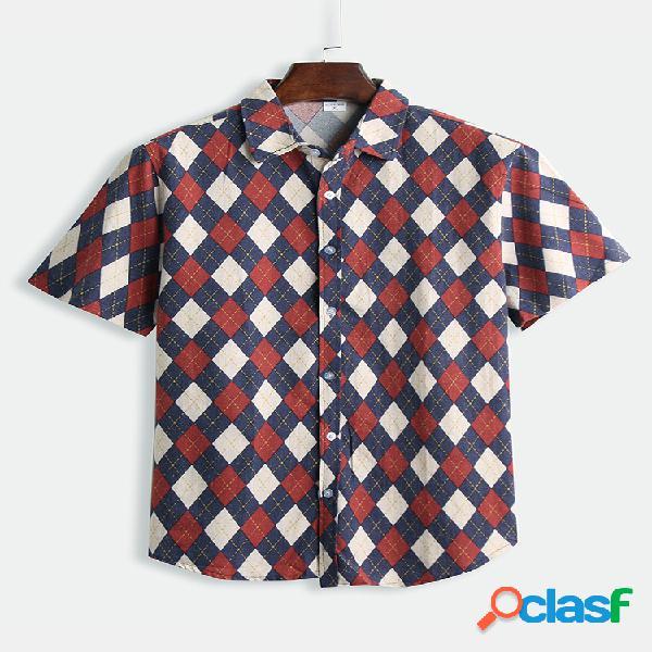 Mens algodão diamante xadrez impresso engraçado manga curta camisa