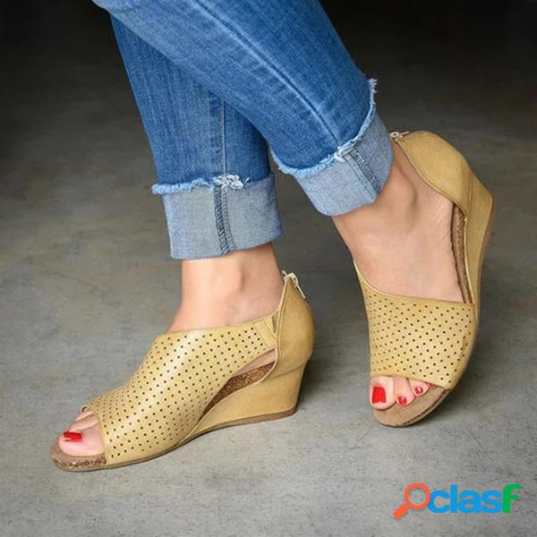 Mulheres de tamanho grande respirável oco aberto lado recortes zipper sandálias
