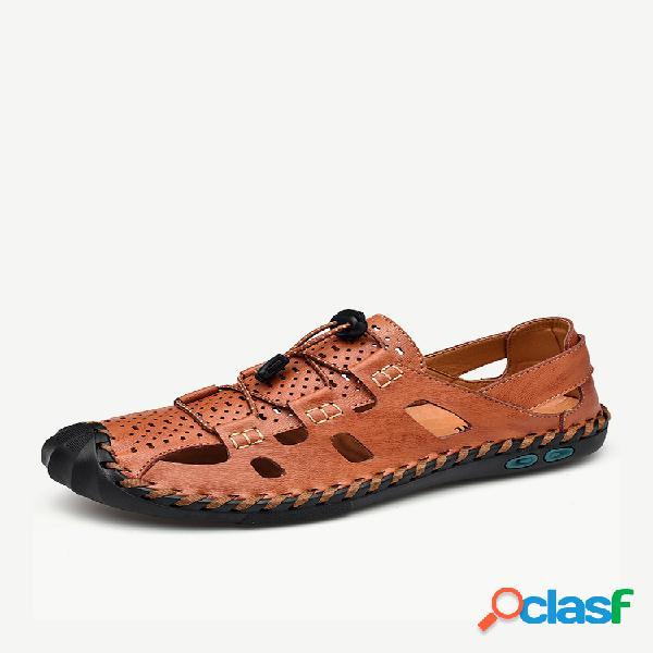 Sandálias de couro antideslizantes masculinas com costura à mão tamanho grande soft sola