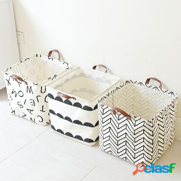 Cestas de armazenamento portátil de linho impermeável de estilo simples, brinquedo de roupas para casa banheiro organizador